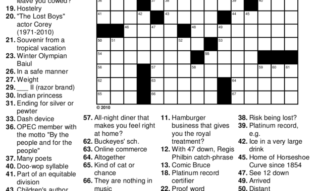 Printable Crossword Puzzles Pdf With Answers